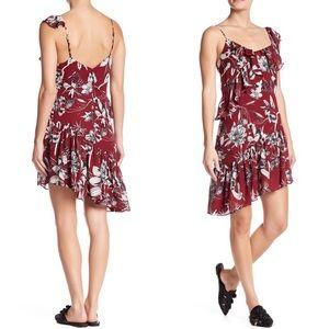 NWT Parker Asymmetrical Floral Ruffle Dress